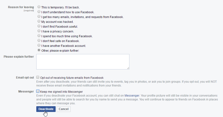 Disable My Facebook Account