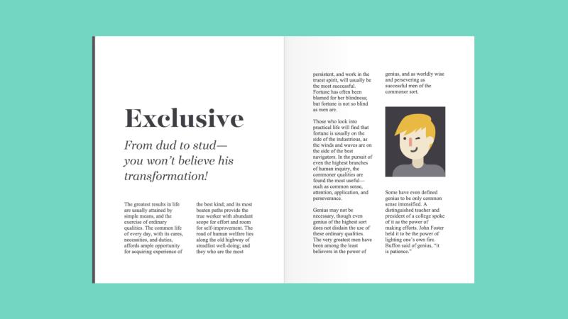 fuentes de serif en una revista