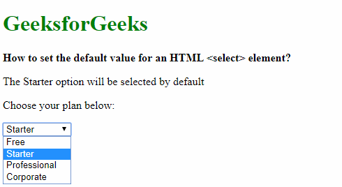 How to set the default value for an HTML element ...