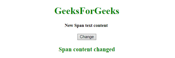 JQuery | Change the text of a span element - GeeksforGeeks