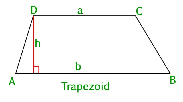 Program to find area of a Trapezoid - GeeksforGeeks