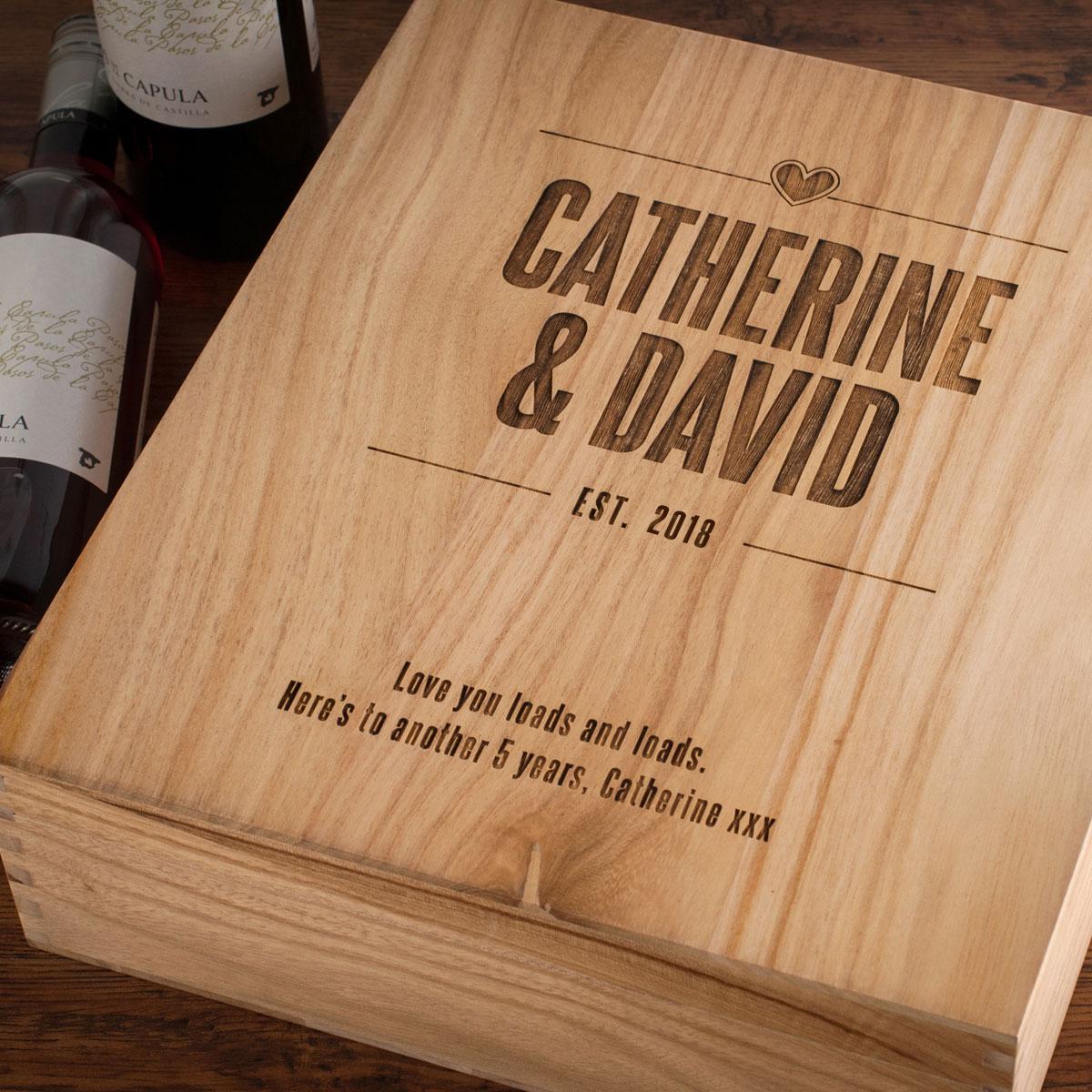Personalised 3 Bottle Wooden Wine Box Established