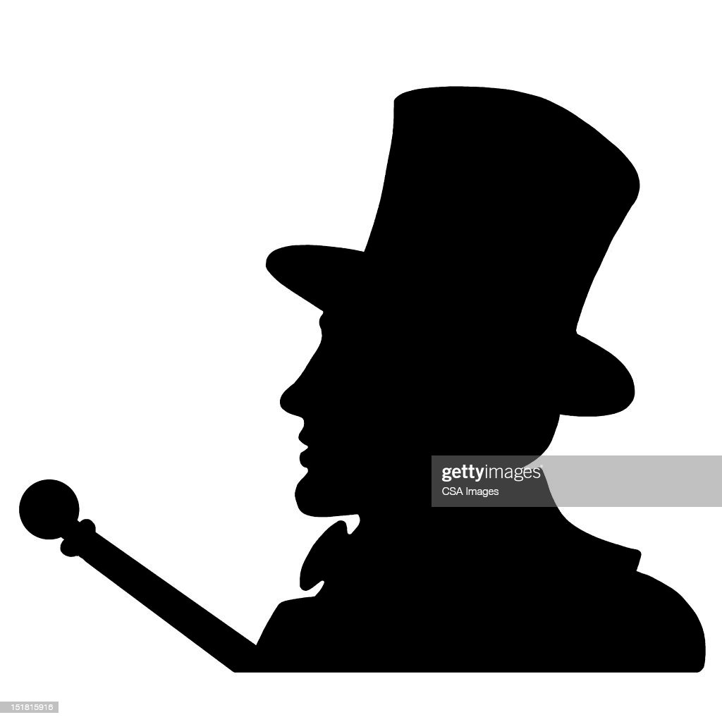 Silhouette Man Top Hat
