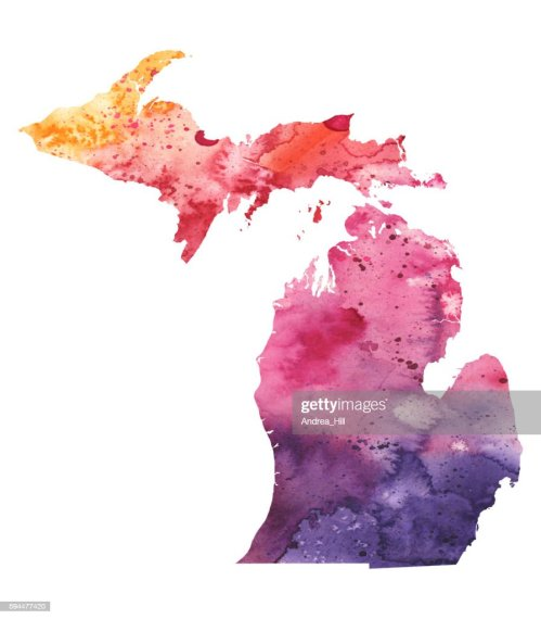 Map Of Michigan With Watercolor Texture Raster Illustration Stock     Map of Michigan with Watercolor Texture   Raster Illustration   Stock  Illustration