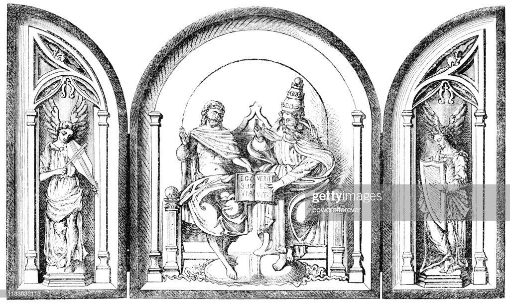 https www gettyimages ch detail illustration renaissance triptych un tableau de devotion lizenfreie illustration 1133635113 language fr