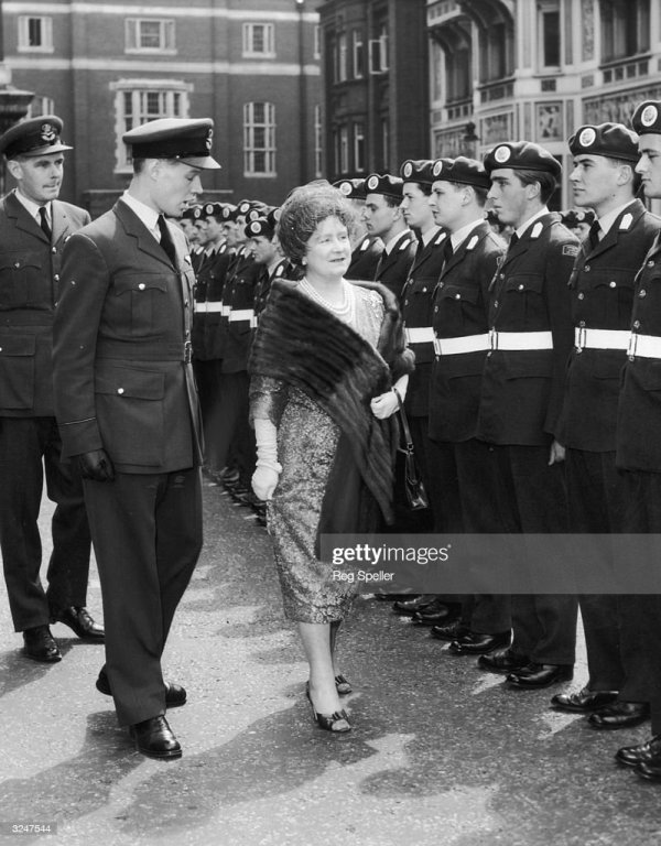 The Queen Mother inspects the Guard of Honour provided by ...