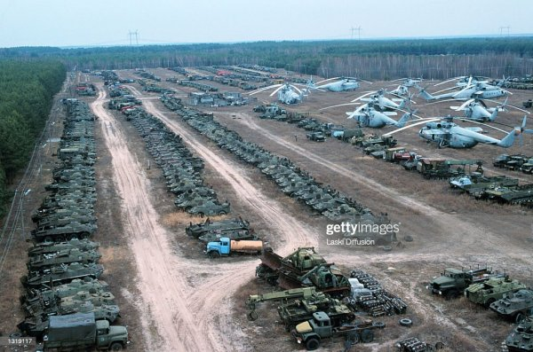 Abandoned trucks and helicopters used in the Chernobyl