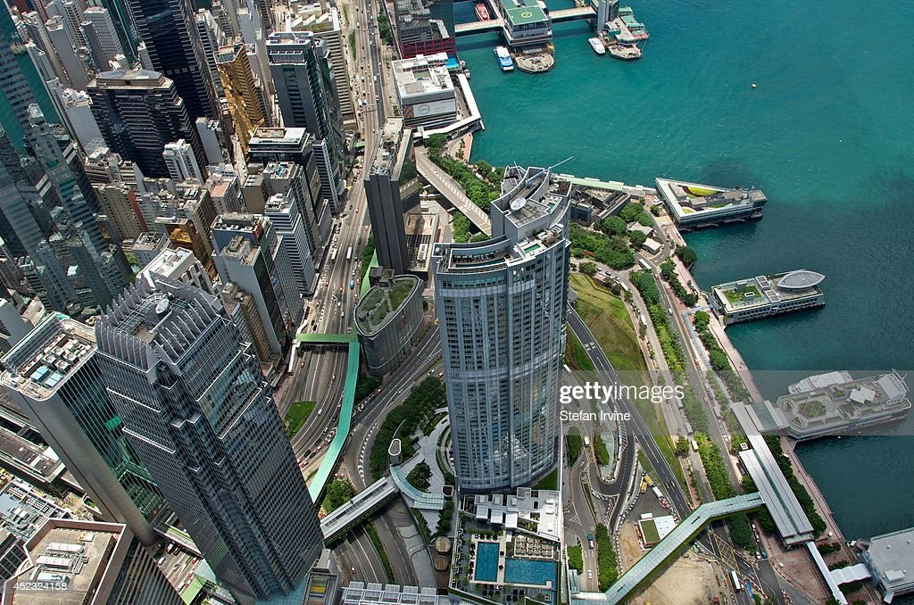 Aerial view from the rooftop of IFC 2, showing the Four Seasons hotel... News Photo - Getty Images