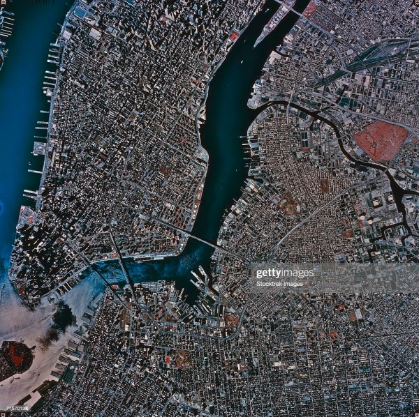 Aerial View Of New York City Satellite Image Stock Photo ...