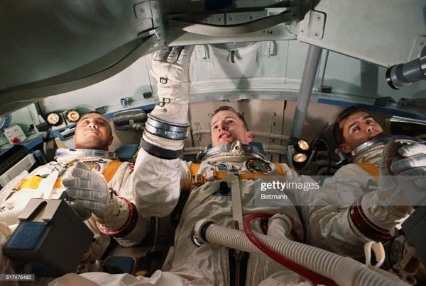 Apollo-1 astronauts lying in a supine position inside the ...