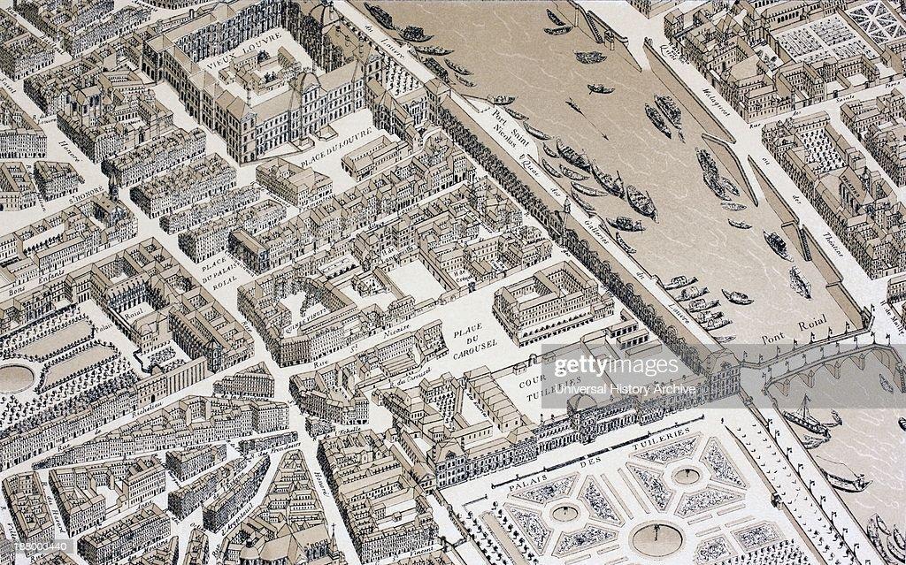 https www gettyimages ch detail nachrichtenfoto birds eye view of paris france in 1730 from xviii nachrichtenfoto 188003440 language fr