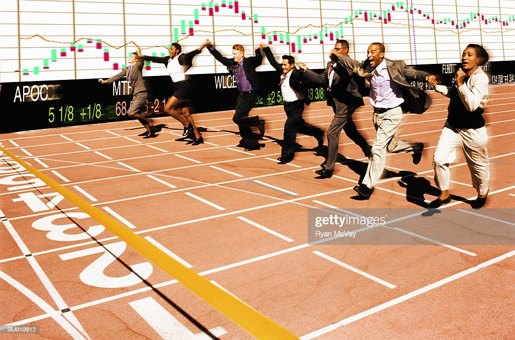 Businesspeople Holding Hands Near The Finish Line Stock ...