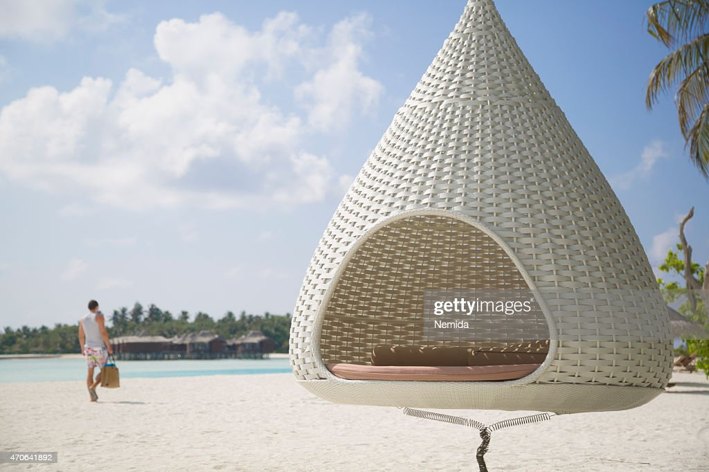 Cocon Hamac Sur La Plage Aux Maldives Photo   Thinkstock Cocon Hamac sur la plage aux Maldives   Photo