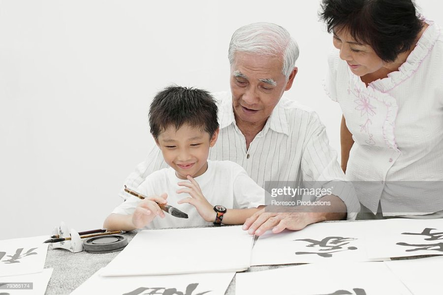 Couple And Young Boy Indoors Painting Chinese Letters Stock Photo     Couple and young boy indoors painting Chinese letters   Stock Photo
