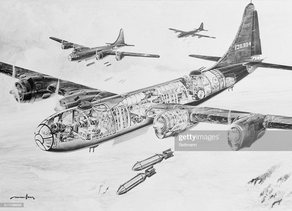 Interior Diagram of USAF B29 Superfortress Bomber