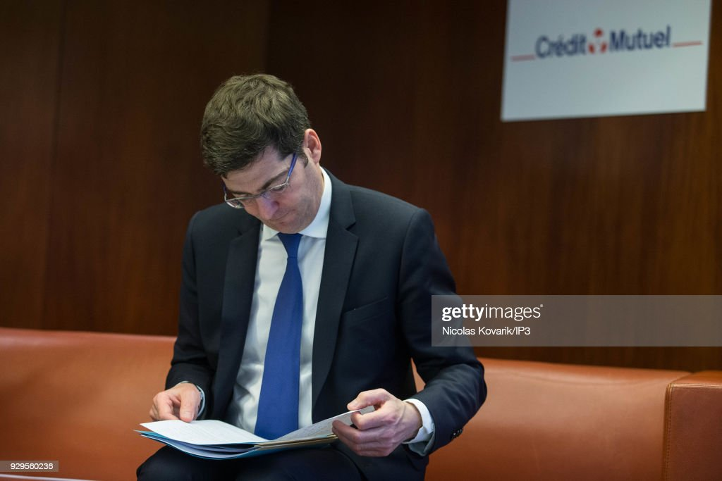 Credit Mutuel Group Presents Its Annual Results In Paris Photos and     French bank group Credit Mutuel CEO Nicolas Thery attends a press  conference to present the annual