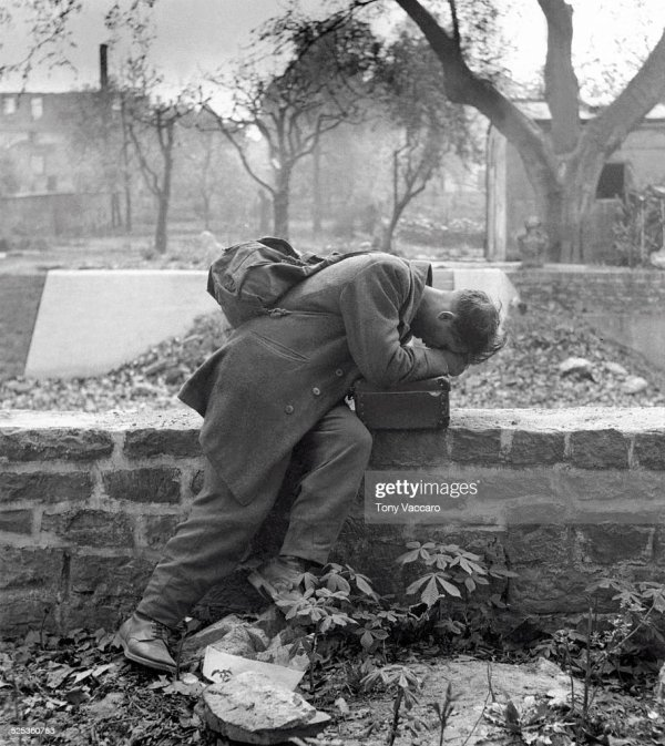 A German soldier returns after the war to find a bombed ...
