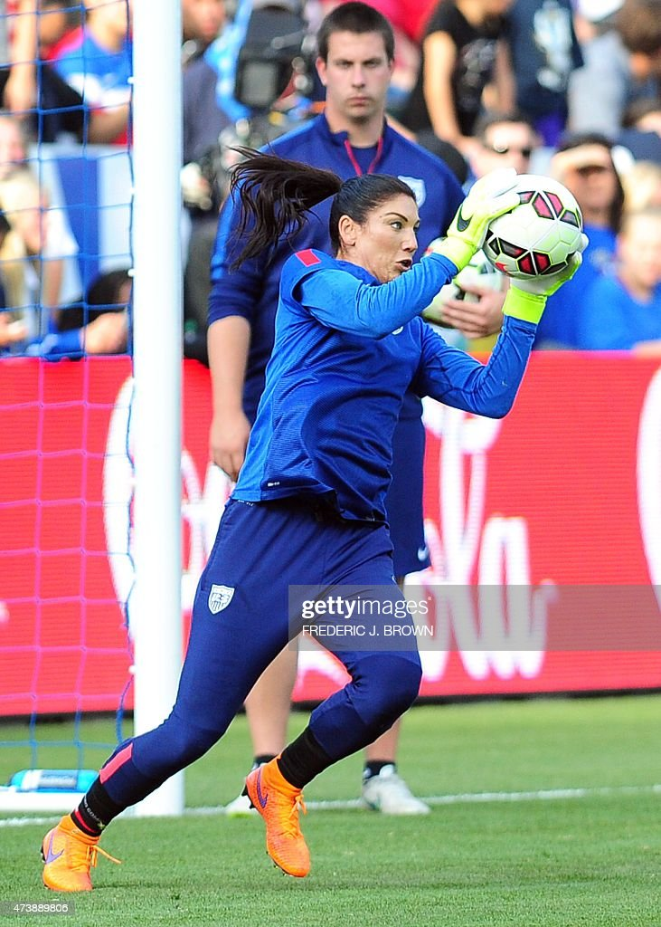 Hope Solo of the US women's national team makes a save ...
