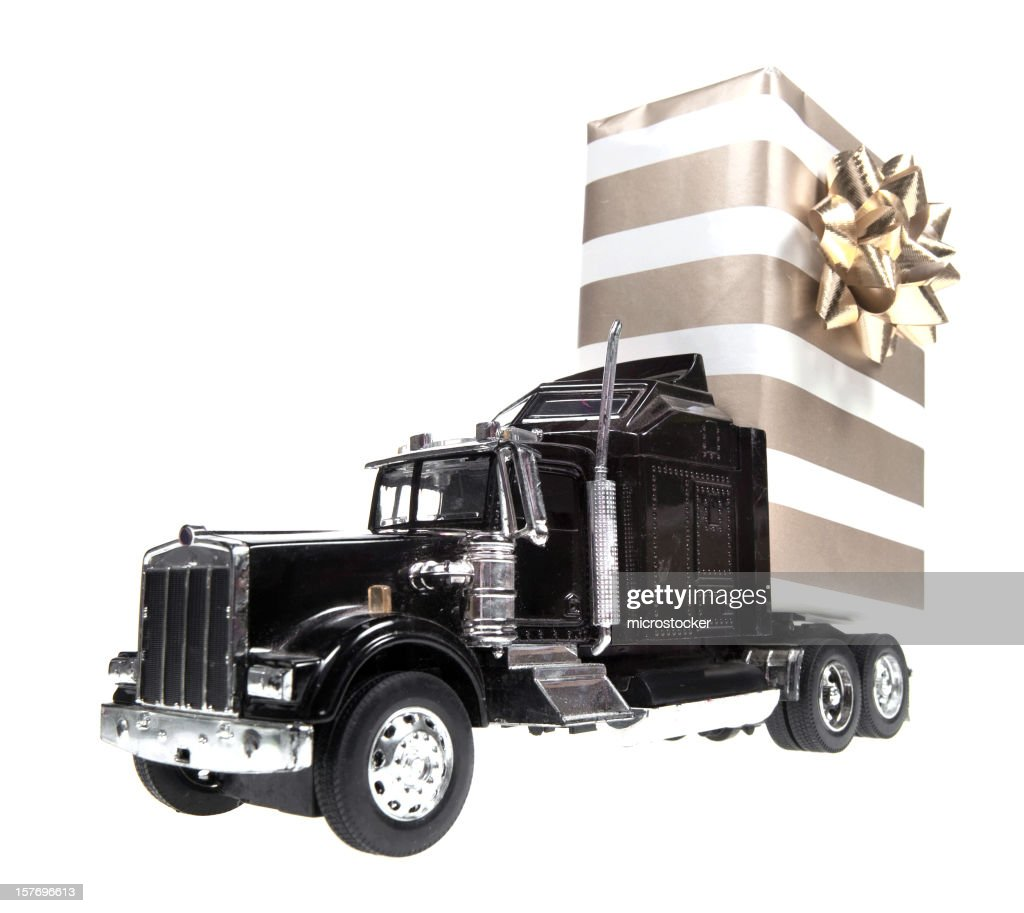 Semi Truck Christmas Background Merry And Happy New Year