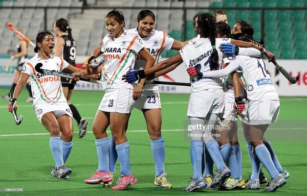 Indian Women's Hockey team player Anuradha Devi (L) and ...