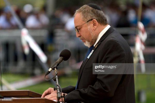 Israeli Defense Minister Avigdor Liberman speaks during an ...