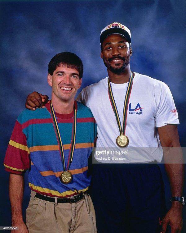 John Stockton and Karl Malone of the U.S. Mens Olympic ...