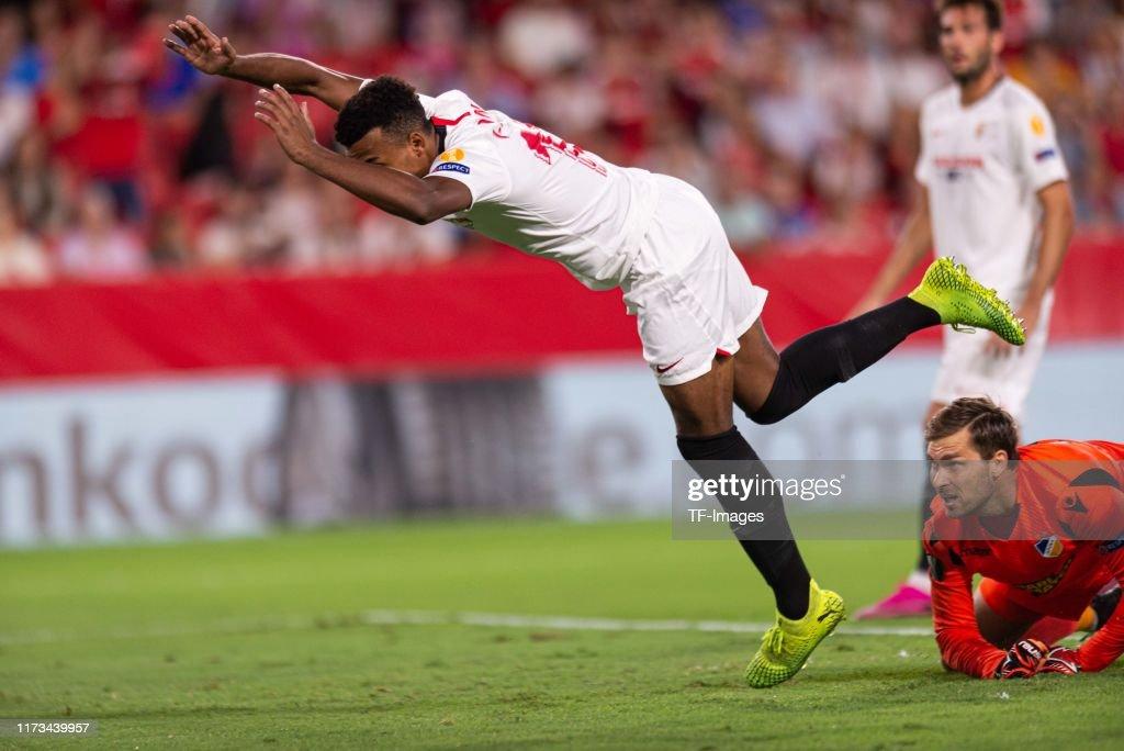 La liga · copa del rey · euro · champions league · world cup qualification · uefa nations league. Jules Kounde of FC Sevilla falls during the UEFA Europa ...