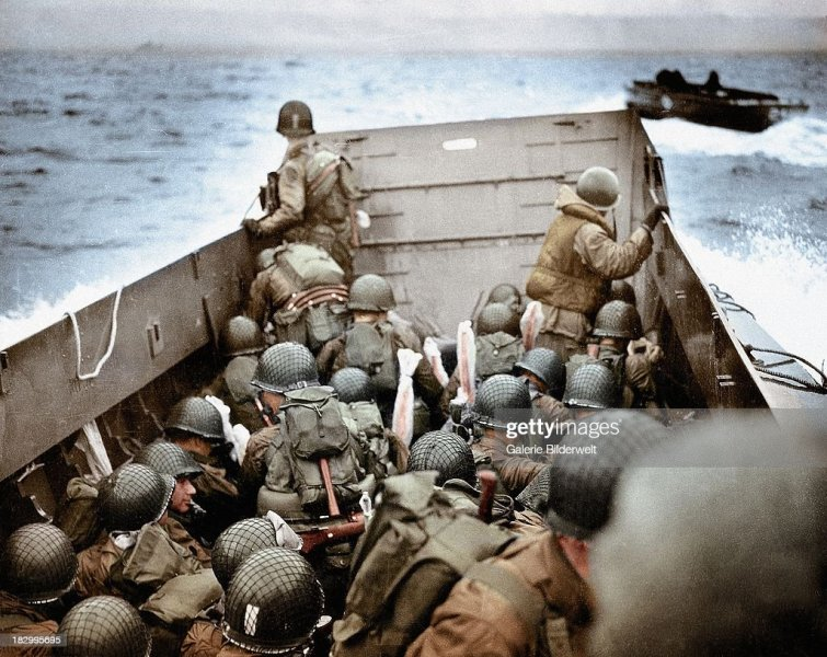 World War Ii Stock Photos and Pictures   Getty Images A Landing Craft Vehicle Personnel is approaching Omaha Beach Normandy  France 6th June 1944 To the