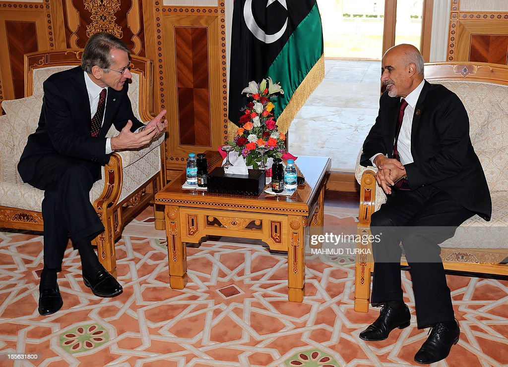 Libya's national assembly head Mohammed Megaryef (R) meets ...