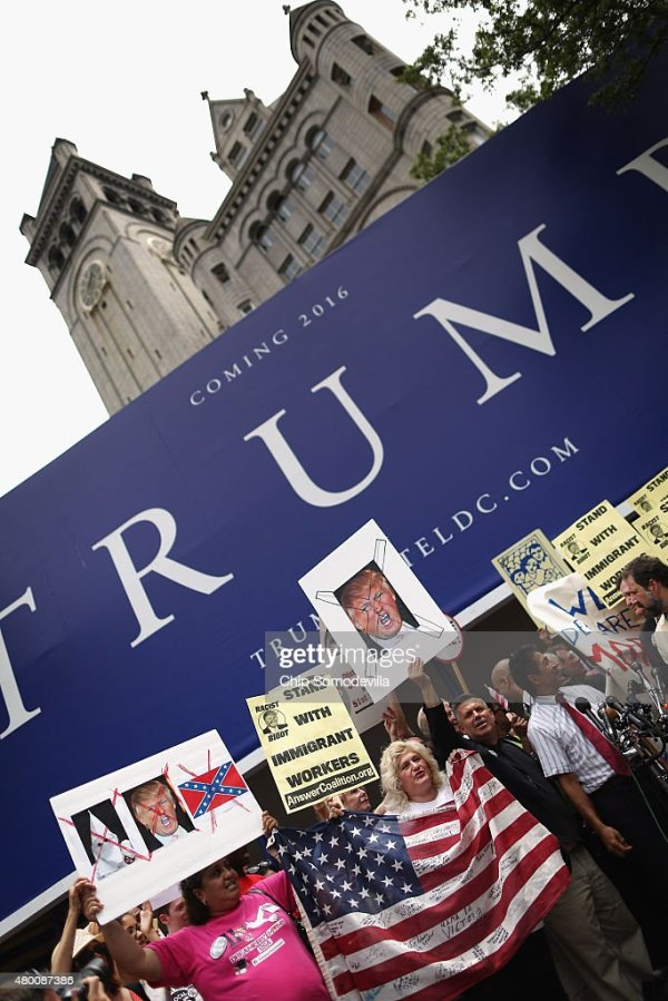 Latino Activists Protest Outside Site Of Future Trump ...
