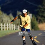 Man Inline Skating On Open Road Foto De Stock Getty Images