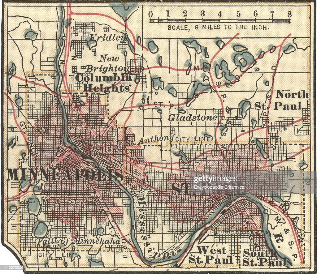 Map Of Minneapolis  St  Paul And Minnesota Pictures   Getty Images
