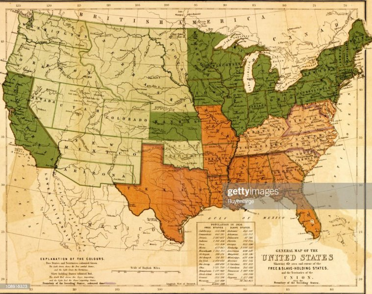 Map Of Slave And Free States Pictures   Getty Images A map of the United States  showing the distinctions and boundaries between  slave holding