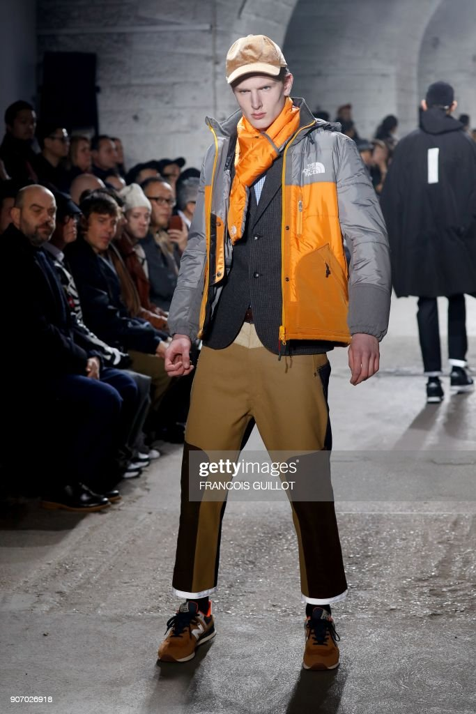 Junya Watanabe   Runway   Paris Fashion Week   Menswear F W 2018     A model presents a creation for Junya Watanabe during the men s Fashion Week  for the Fall