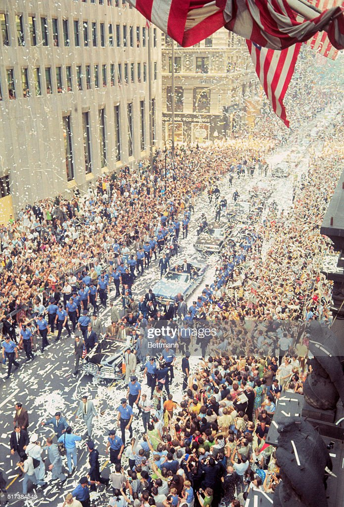 Astronauts Riding in Ticker Tape Parade Pictures Getty