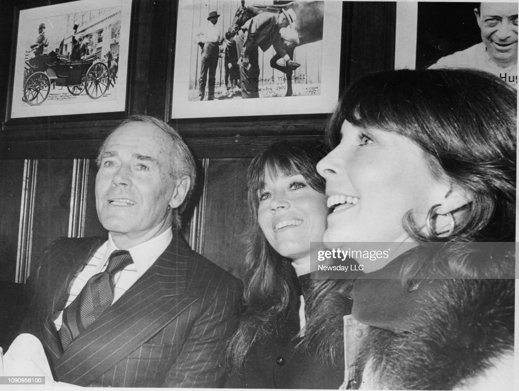 Henry Fonda sits with his daughter Jane Fonda, and his ...