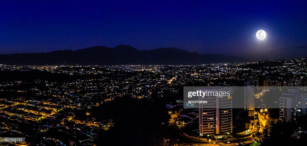 Night Image Of Caracas City Aerial View With Full Moon ...