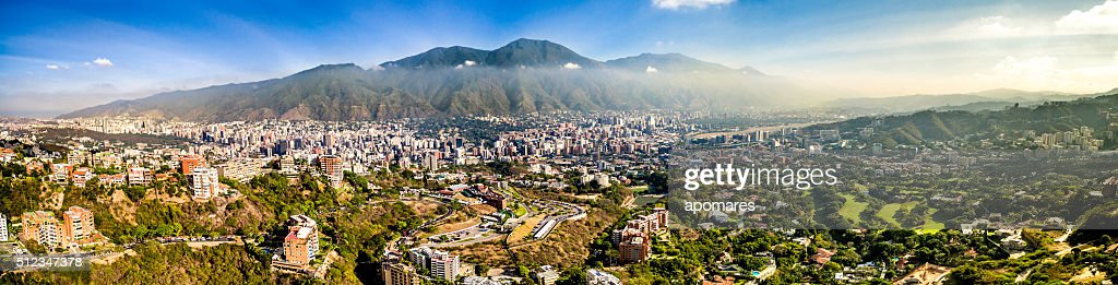 Panoramic Image Of Caracas City Aerial View With El Avila ...