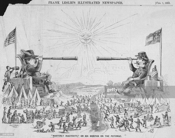 Political cartoon depicting Union General George McClellan ...