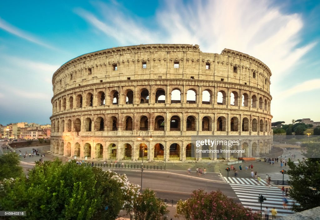 Roman Colosseum With Dramatic Sky At Sunset Rome Italy ...