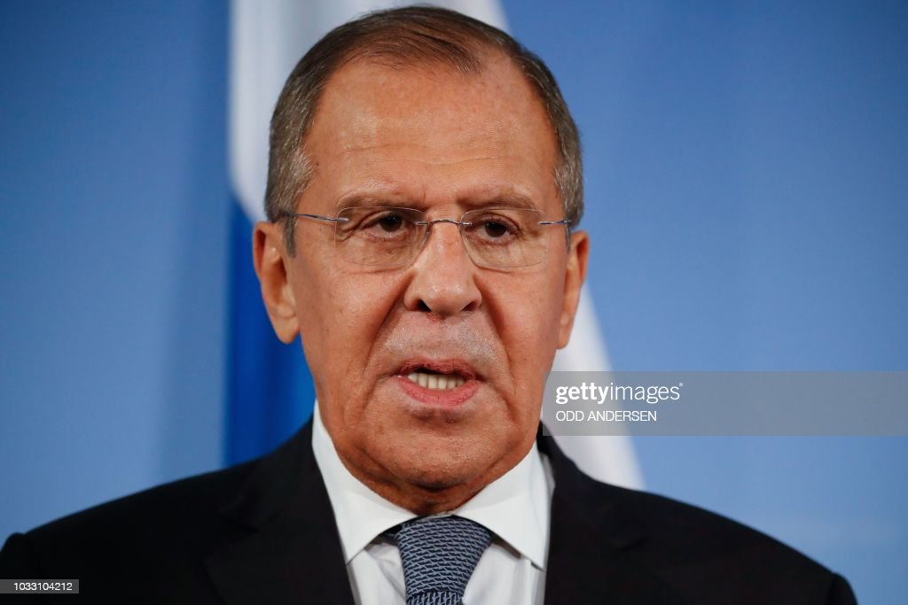 Russian Foreign Minister Sergei Lavrov addresses a press ...