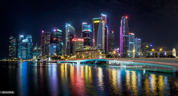 Singapore Night City View Stock Photo | Getty Images