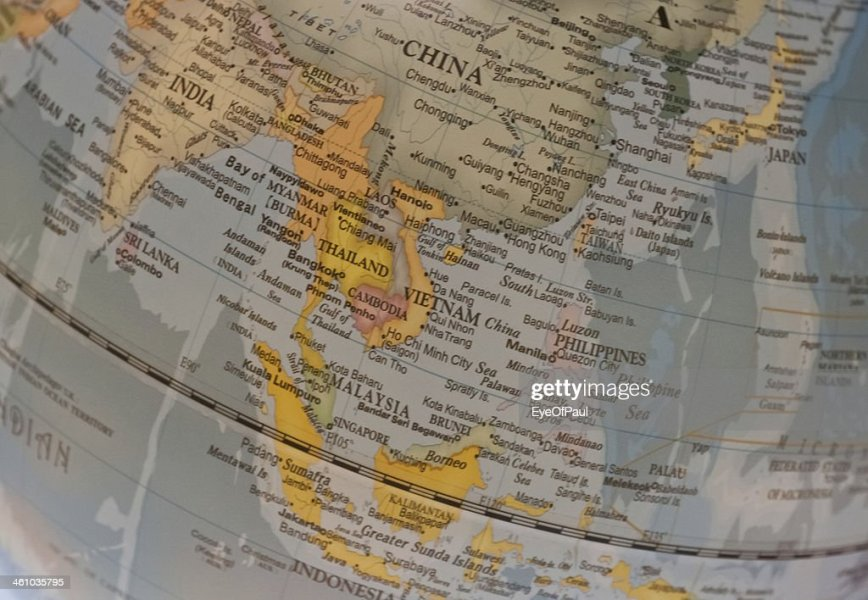South East Asia Countries Map On A Globe Stock Photo   Thinkstock South East Asia countries map on a globe   Stock Photo