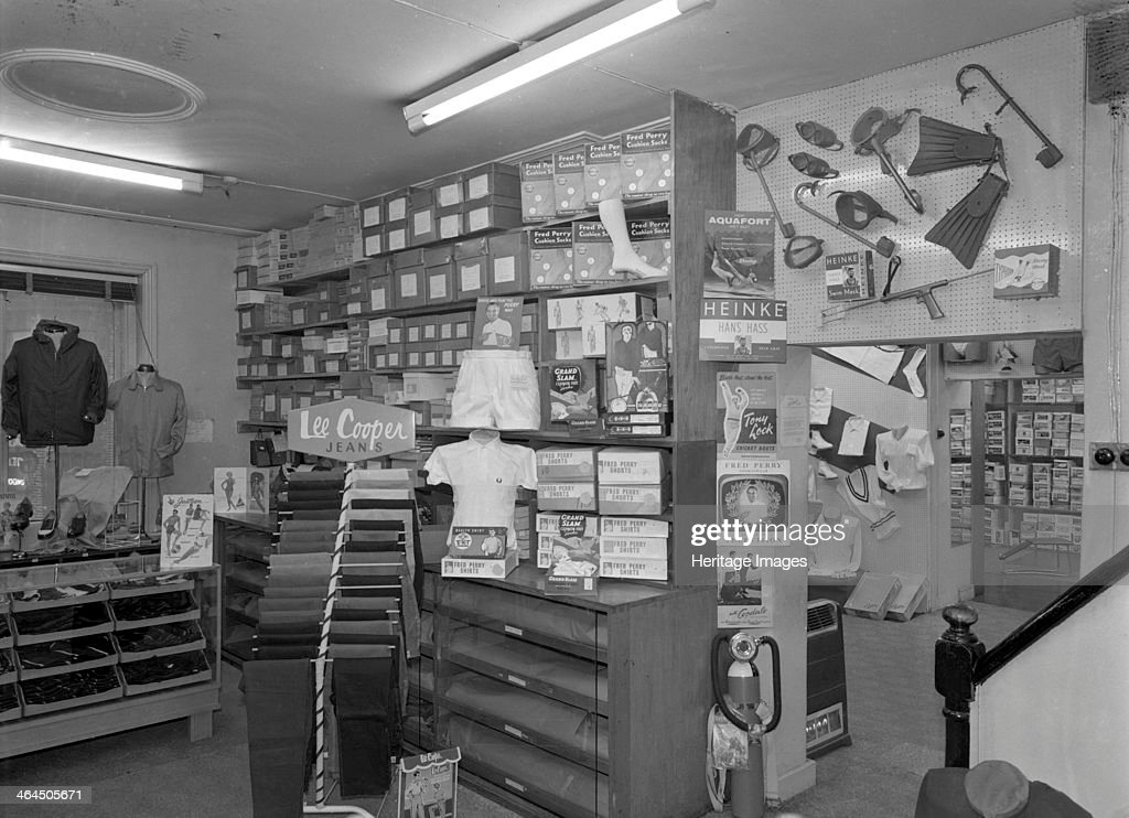Sports shop interior  Sheffield  South Yorkshire  1961  Artist     Sports shop interior  Sheffield  South Yorkshire  1961  The interior of  Sugg Sports