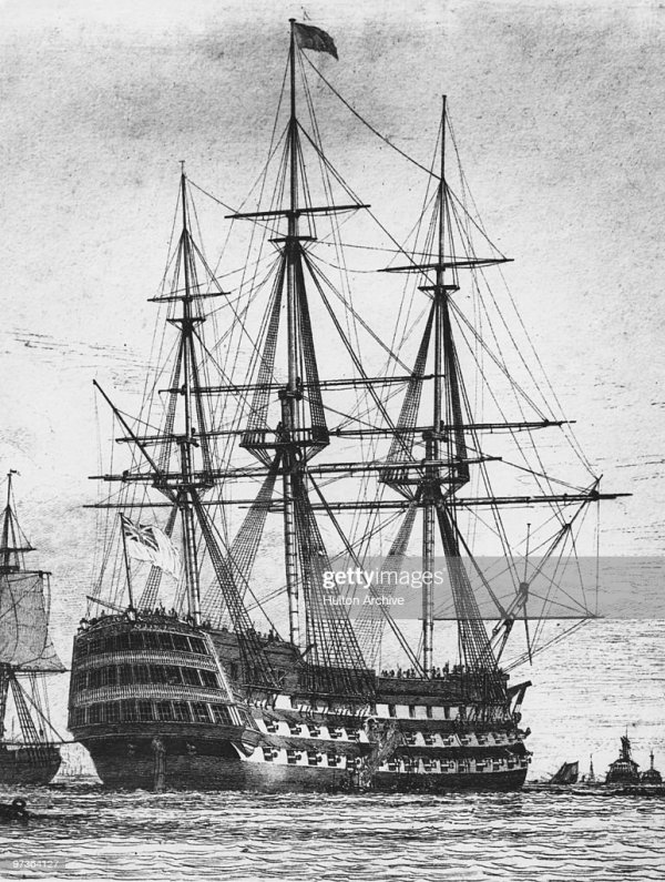 The Royal Navy first rate ship of the line, HMS Victory ...