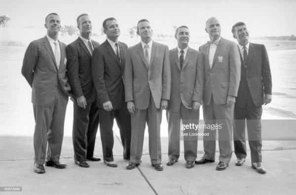 The seven original US Astronauts chosen for Project ...