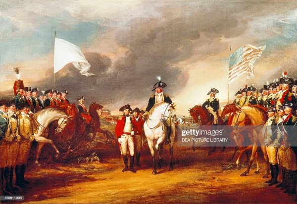 The surrender of Cornwallis at Yorktown October 19 by