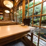 Traditional Japanese Restaurant Interior With Dining Tables And Garden View In Kyoto Japan High Res Stock Photo Getty Images