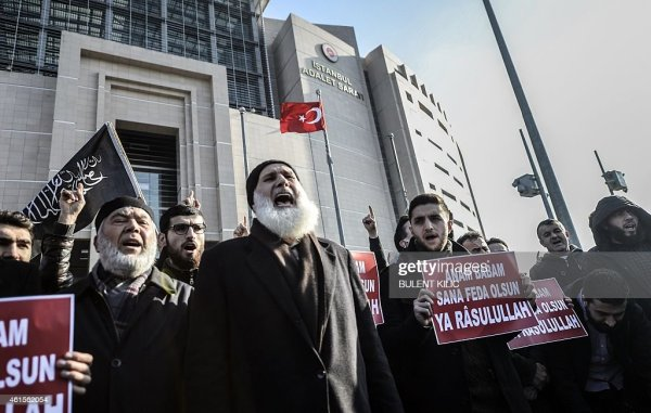 Turkish Muslims chant slogans in front of Istanbul ...
