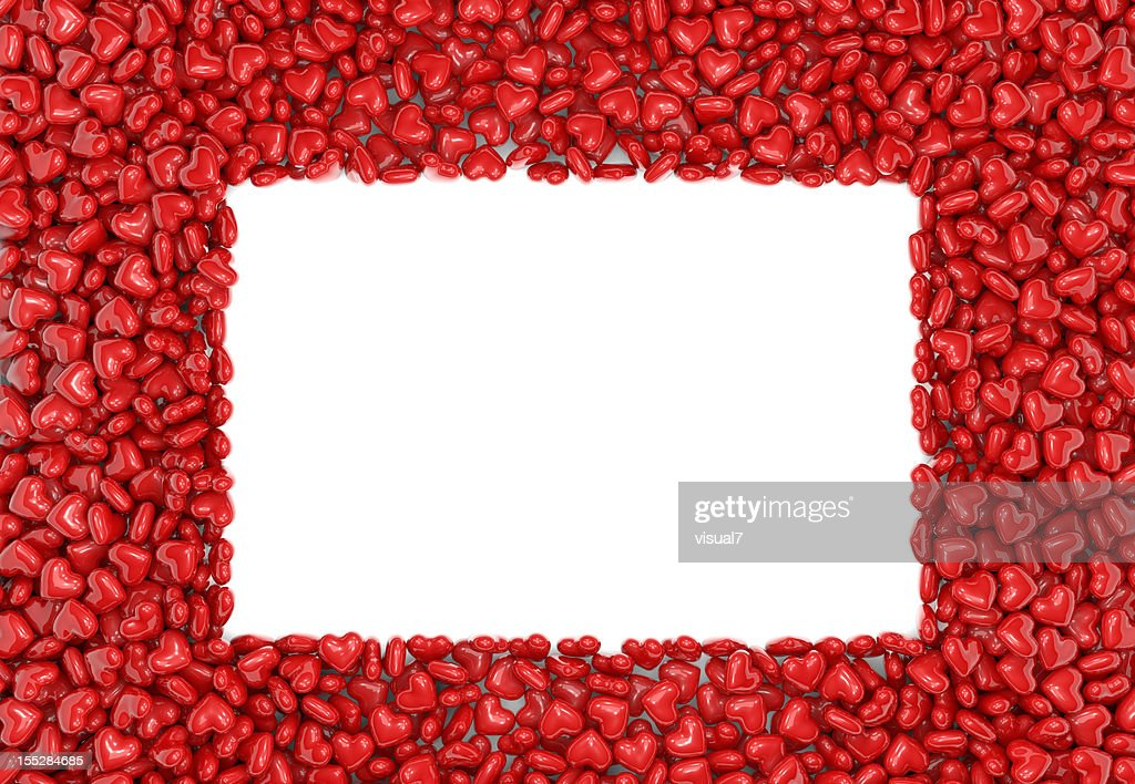 Valentines Day Red Hearts Background With Picture Frame